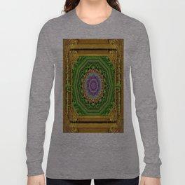 Lotus Pond In Gold Pattern Long Sleeve T-shirt