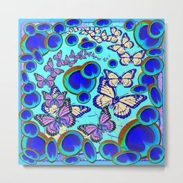 Blue Eyes & Butterfly Fantasy Abstract Pattern Art Metal Print