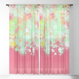 paint splatter on gradient pattern tgpi Sheer Curtain
