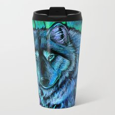 Wolf Aurora Metal Travel Mug