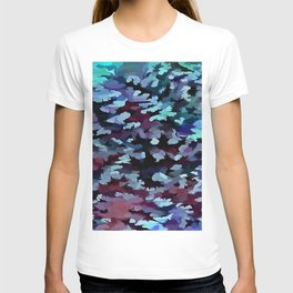 Foliage Abstract Camouflage In Aqua Blue and Black T-shirt