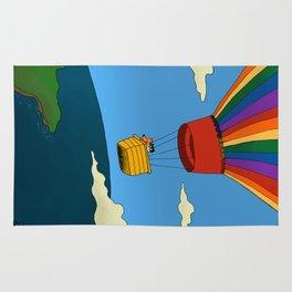 Dharma & Maya in a hot-air balloon Rug