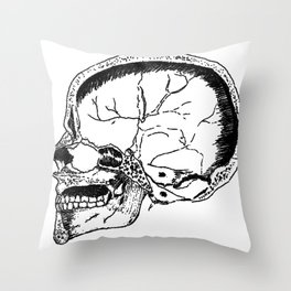 Bisected Skull Throw Pillow