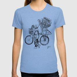Bicycle Flower Seller in Hanoi in Pencil T-shirt