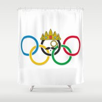 lord of the rings Shower Curtains featuring Lord of the Rings by Out of the Dust Designs