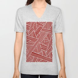 Abstract Navy Red & White Lines and Triangles Pattern Unisex V-Neck