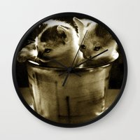 kittens Wall Clocks featuring Kittens by Northern Light Images