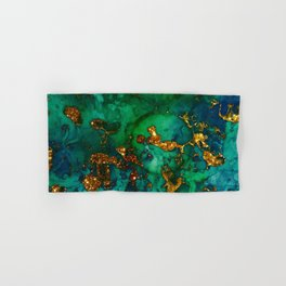 Emerald And Blue Glitter Marble Hand & Bath Towel