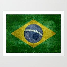 Vintage Brazilian flag with football (soccer ball) Art Print