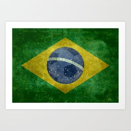 Vintage Brazilian flag with football (soccer ball) Art Print