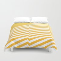 bands Duvet Covers featuring Yellow Bands R. by blacknote