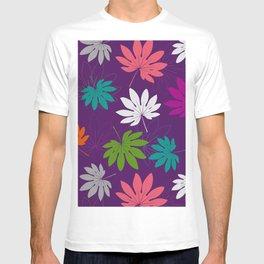 Purple tropical leaves T-shirt