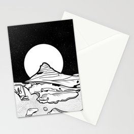Iceland Mountain Black and white Stationery Cards