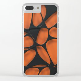 Black on orange, organic abstraction Clear iPhone Case