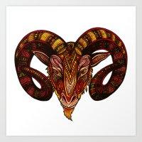 ram Art Prints featuring Ram by Britney Elizabeth