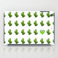 emoji iPad Cases featuring Cacti Emoji Love by Gretchen M.
