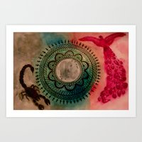 scorpio Art Prints featuring Scorpio by Jen Hallbrown