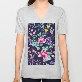 Chinoiserie french navy floral Unisex V-Neck