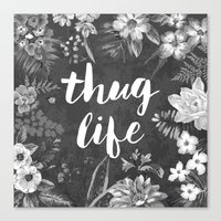 2pac Canvas Prints featuring Thug Life by Text Guy