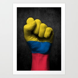 Colombian Flag on a Raised Clenched Fist Art Print