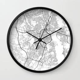 Minimal City Maps - Map Of Providence, Rhode Island, United States Wall Clock