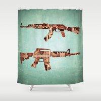 camouflage Shower Curtains featuring camouflage by Steve W Schwartz Art