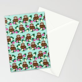 Sloth and Hibiscus Stationery Cards
