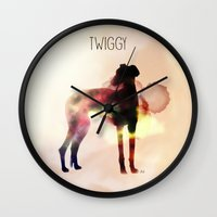 greyhound Wall Clocks featuring Twiggy greyhound by Ingrid Winkler