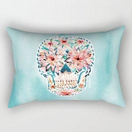 FLOWER POP Skull Watercolor Rectangular Pillow