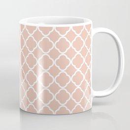 Modern coral white chic quatrefoil pattern Coffee Mug