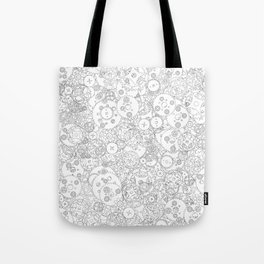 Clockwork B&W / Cogs and clockwork parts lineart pattern Tote Bag