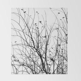 Black white tree branch bird nature pattern Throw Blanket