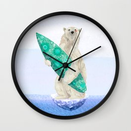Polar bear & Surf (green) Wall Clock
