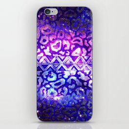 TRIBAL LEOPARD GALAXY Animal Print Aztec Native Pattern Geometric Purple Blue Ombre Space Galactic iPhone Skin