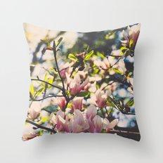 Magnolias in spring Throw Pillow
