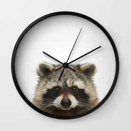 Lucky Raccoon Print Wall Clock