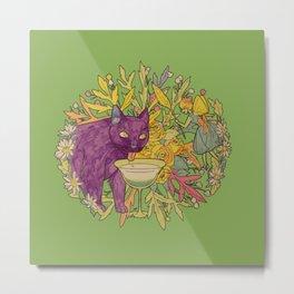 cat and green milk light Metal Print