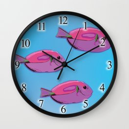 Pink tropical fishes Wall Clock