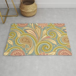 Boho Paisley and Floral Pattern Rug