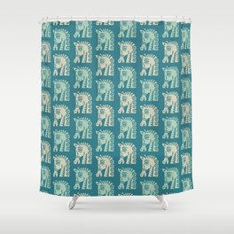 Mid Century Horse Pattern Green and Beige Shower Curtain