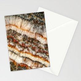 Agate Crystal V // Red Gray Black Yellow Orange Marbled Diamond Luxury Gemstone Stationery Cards