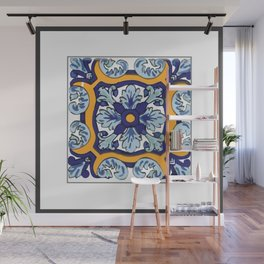 Talavera Mexican tile inspired bold design in blues and yellows Wall Mural