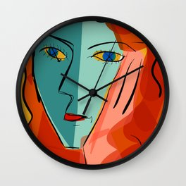 Blue girl on yellow background Wall Clock