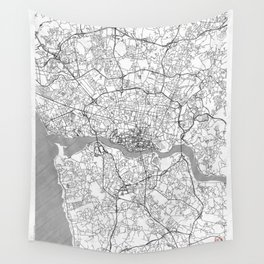 Porto Map Line Wall Tapestry