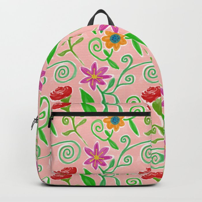 Lovely Colorful Floral Pattern Backpack