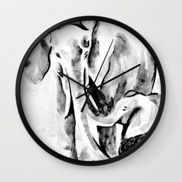 Elephant eskimo kiss black and white Wall Clock