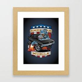 American Muscle Patriotic Classic Muscle Car Cartoon Illustration Framed Art Print
