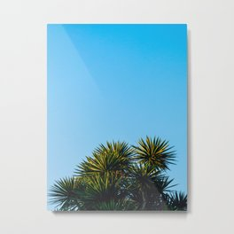 Minimalist Art Palm Tree Against Blue Sky Metal Print