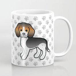 Cute Blue Ticked Beagle Dog Cartoon Illustration Coffee Mug