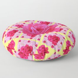 FUCHSIA PINK ROSE PATTERNS & YELLOW GARDEN ART Floor Pillow